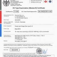 Certyfikat Drzwi B15